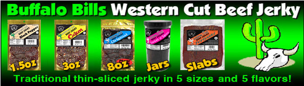Buffalo Bills Western Cut Beef Jerky - Traditional thin-sliced jerky in 5 sizes and 5 flavors
