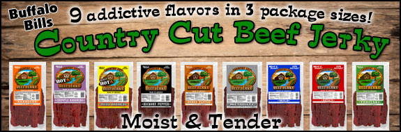 Buffalo Bills Country Cut Beef Jerky - 6 addictive flavors in 3 package sizes